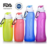 Collapsible Water Bottle Silicone Outdoor Water Canteen BPA Free,FDA Approved Set of 4 Pack Family Set Parents And Children For Travel Trip Camping Cycling Fishing Climbing Sports