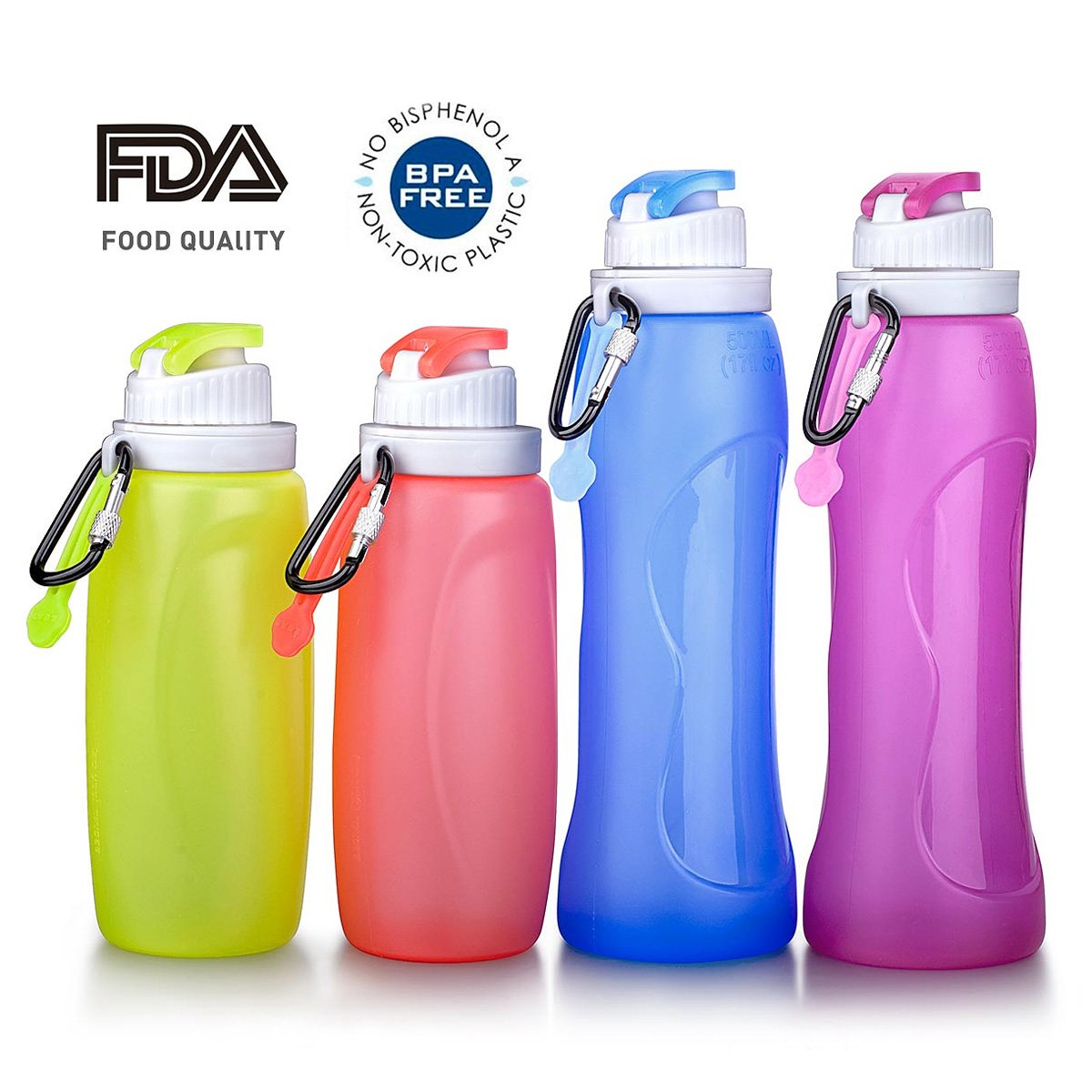 Mylivell Collapsible Water Bottle Silicone Outdoor Water Canteen BPA Free,FDA Approved Set of 4 Pack Family Set Parents And Children For Travel Trip Camping Cycling Fishing Climbing Sports