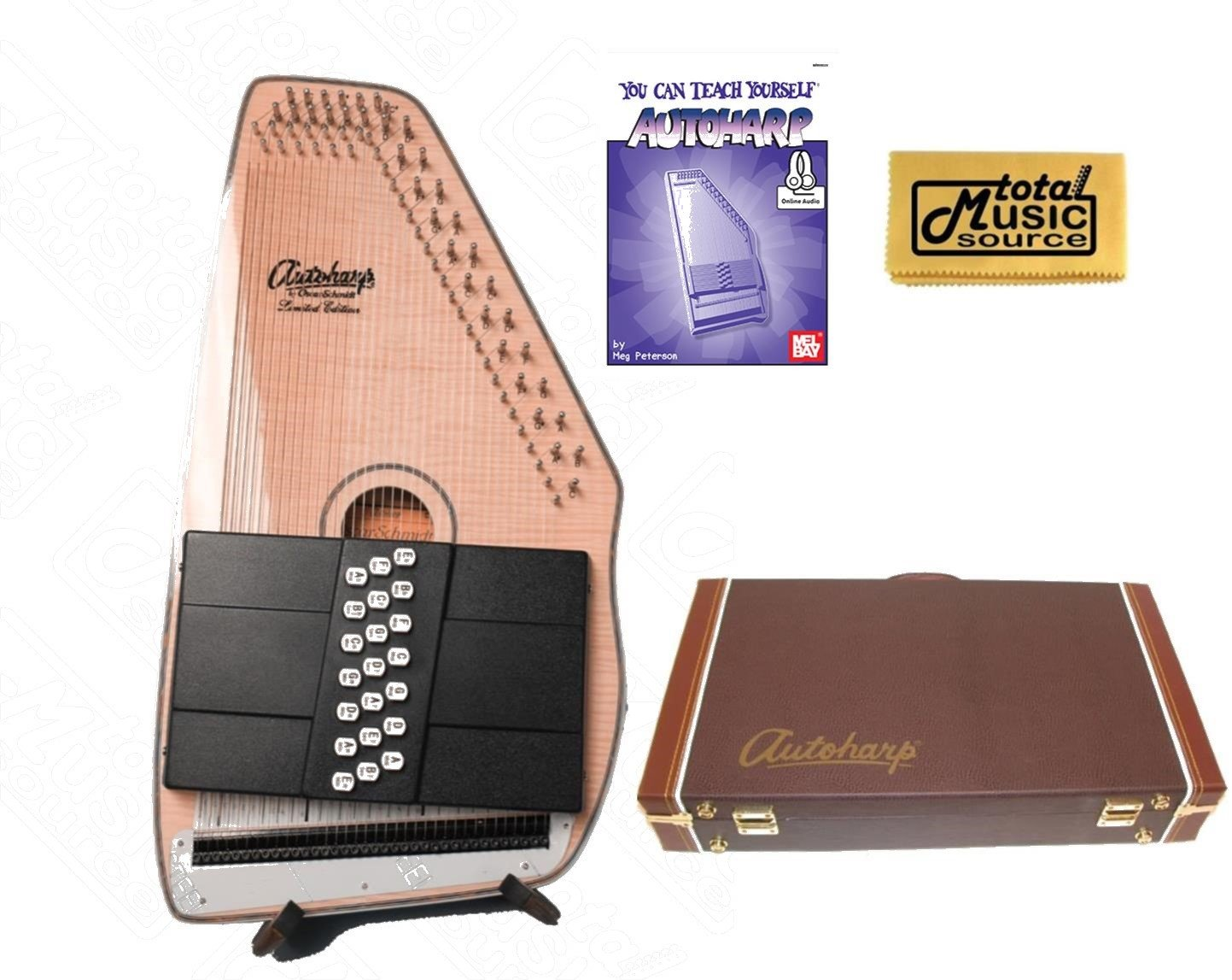 Oscar Schmidt 21 Chord Acoustic/Electric Autoharp, Flame Maple Top, OS11021FNE