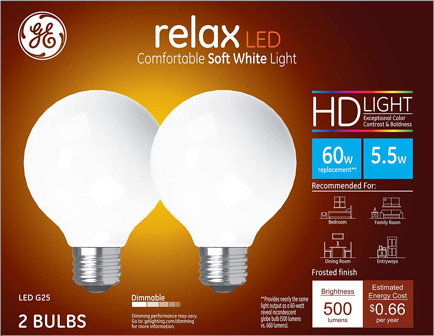 GE Lighting 31696 Frosted Finish Light Bulb Relax HD Dimmable LED G25 Decorative Globe 5.5 (60-Watt Replacement), 500-Lumen Medium Base, 2-Pack, White, 2