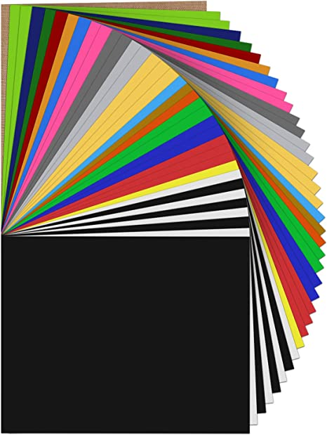 """Heat Transfer Vinyl 12 Sheets 12/"""" x 10/"""" Iron On HTV for T Shirts 10 Colors"""
