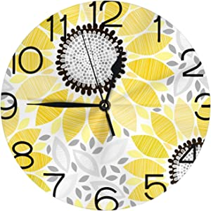 Vintage Sunflower Round Farmhouse Wall Clock Decorative White Yellow Floral Rustic Wall Clocks Battery Operated Outdoor / Bathroom Wall Clock for Living Room Decor Cute Silent Wall Clock 9.84 Inch