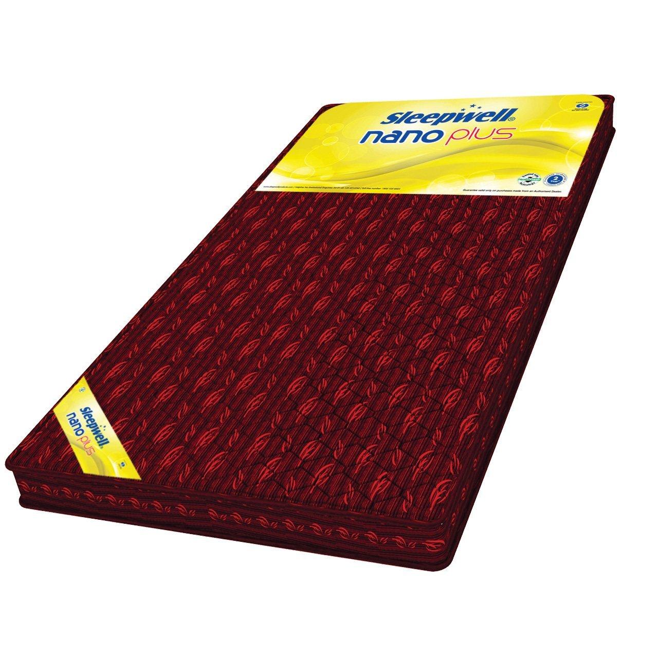 sleepwell nano plus 3 inch single size coir mattress maroon