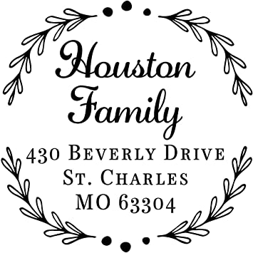 Custom Address Stamp Self Inking Script Floral Wedding Invite Name Mail Return Address Stamper Wood Self-Inking Return Address Stamps