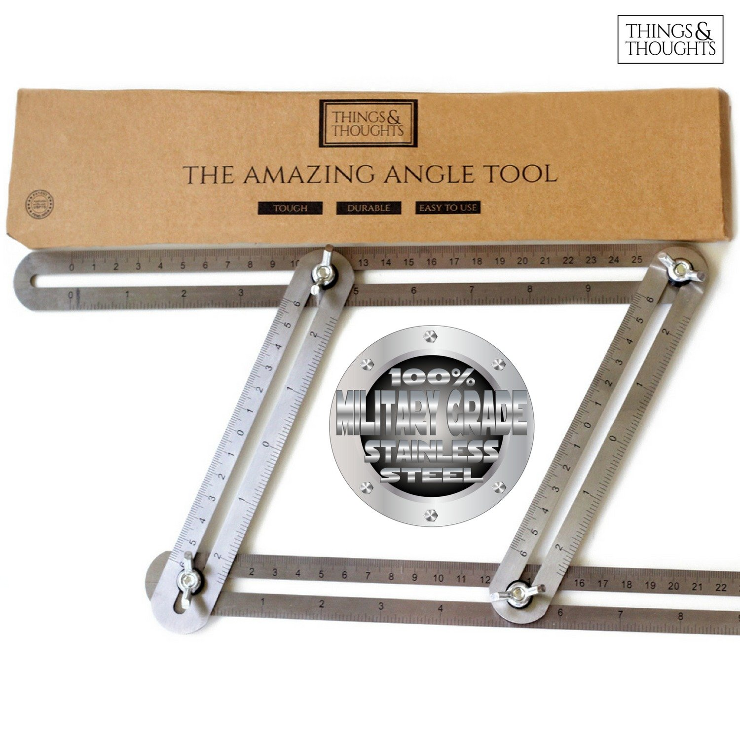 The Amazing Angle Tool | Find & Measure Angles for Professional Quality Results When Cutting & Laying Tile, Laminate, Brick, Pavers, & Roof Rafters ~ Military Grade Stainless Steel