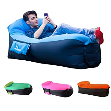 MAMBLE Inflatable Lounger Sofa Portable Sofa Bed Air Sofa For Travelling,  Camping, Beach, Part 33