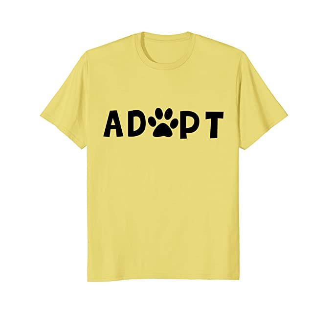 3128f2a7face Mens Adopt Dog or Cat Pet Rescue Animal Shelter Adoption T-Shirt 2XL Lemon