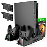 KINGTOP Vertical Cooling Stand Compatible with Xbox One/S/X, Dual Controller Charging Docking Station for Xbox One Cooler Cooling Fan with 2PACK 600mAh Batteries, Games Storage