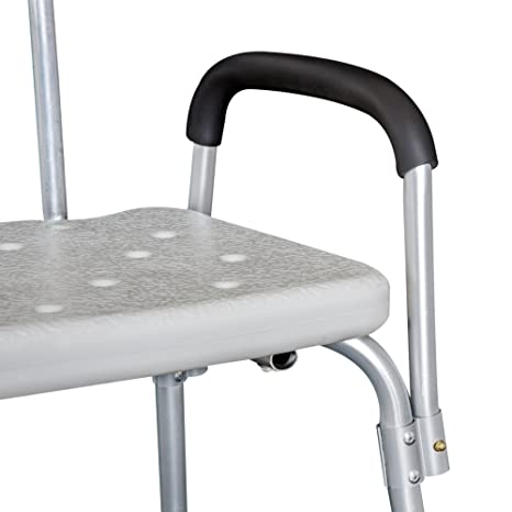 Homcom Silla Tipo Taburete Ortopédico Regulable para Ducha y Baño - Color Blanco - Carga 135 Kg - 46,5x54.2x72,5-85 cm