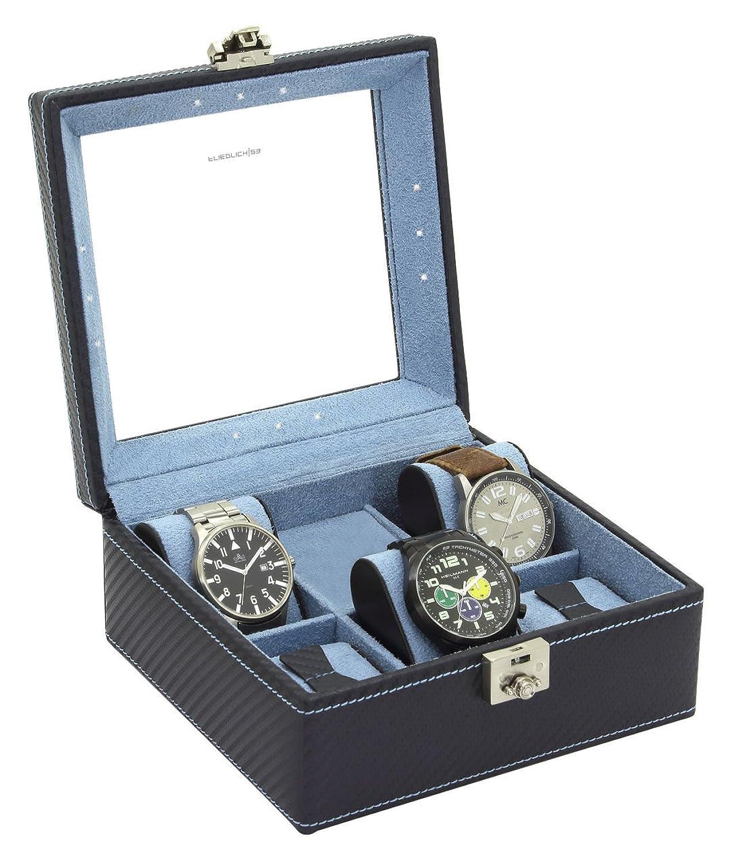 Friedrich Vitrine Uhrenschatulle mit LED in ECO LEDER fÜr 5 Uhren Schatulle Etui Box BehÄlter PrÄsentationsstÄnder