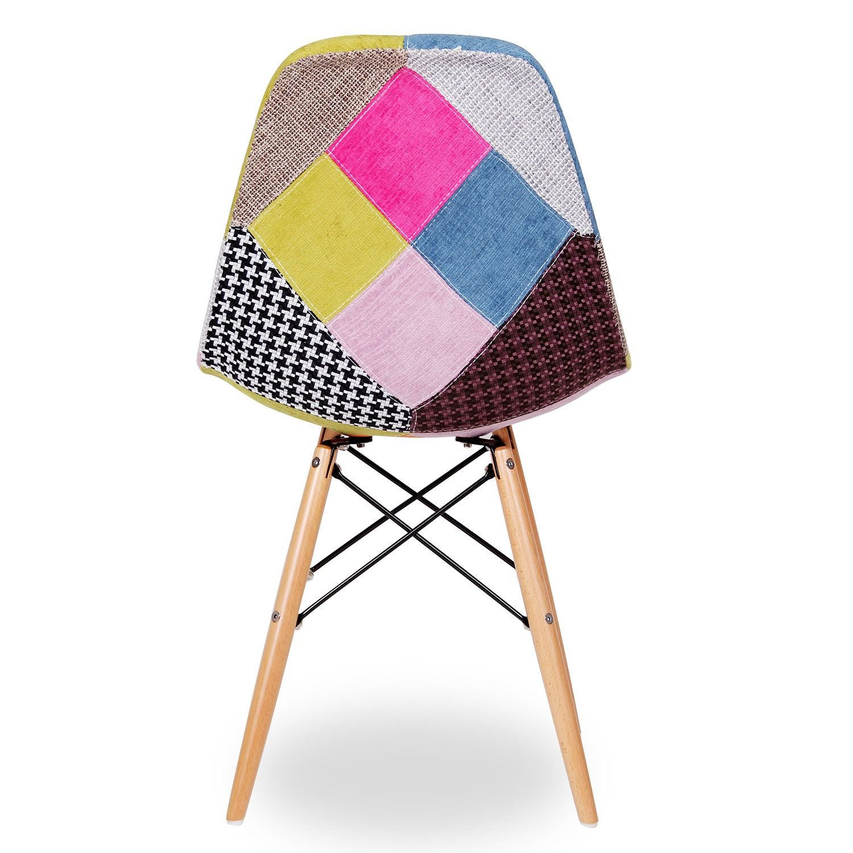 Amazon.com: Silla WOODEN tapizado tela PATCHWORK (set 2 units)