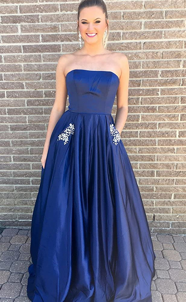 Liyuke Womens Strapless Prom Dresses Beaded Formal Evening Gowns with Pocket at Amazon Womens Clothing store: