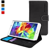 Samsung Galaxy S5 Case, Snugg™ - Black Leather Galaxy s5 Flip Case [Lifetime Guarantee] Protective Wallet Cover and Stand for Samsung Galaxy S5
