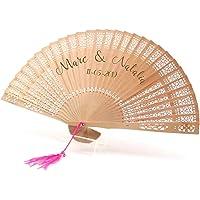 Abanico de madera personalizado. Regalo original para Detalles de Bodas, Bautizos, Comuniones y Eventos. Incluye Pompon…