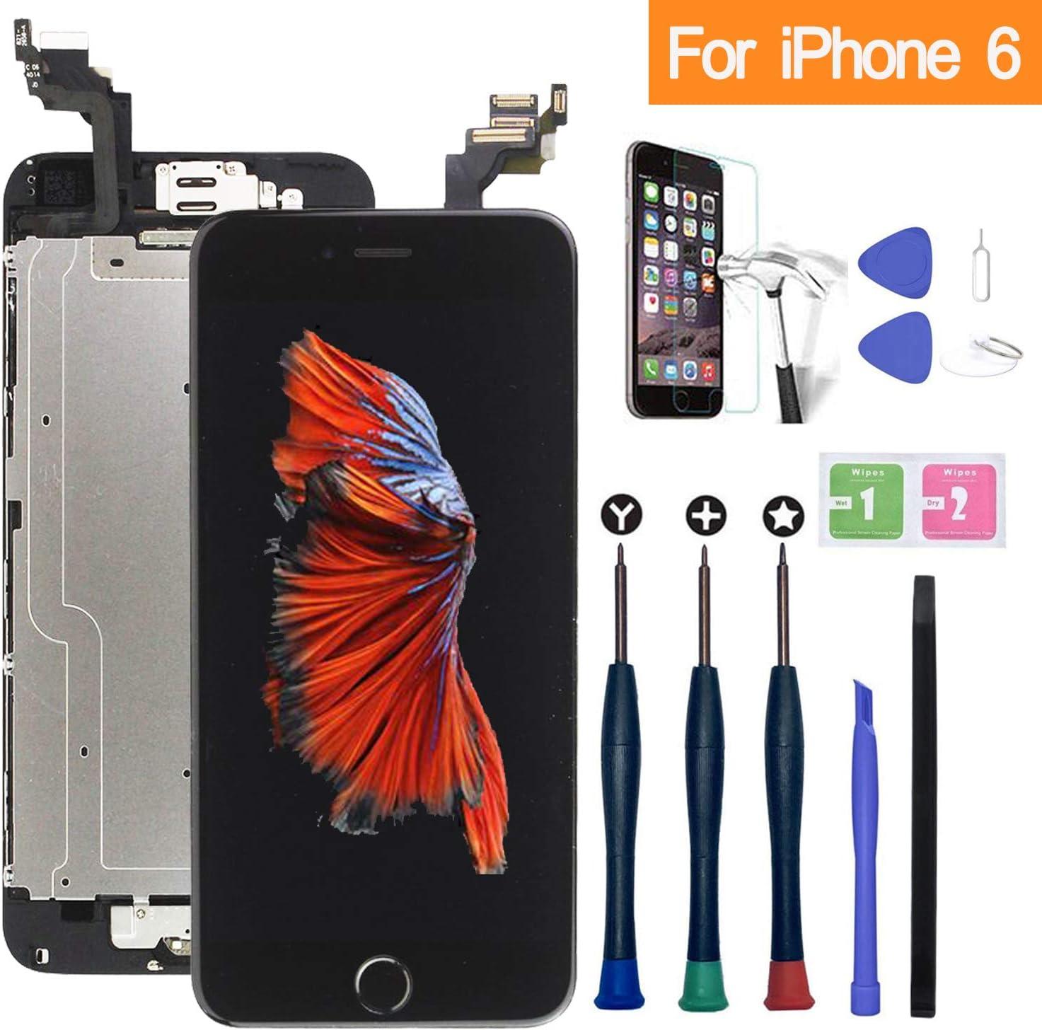 Xlhama - Pantalla táctil LCD para iPhone 6, Color Negro, con botón de Inicio, cámara Frontal, Altavoz, Sensor de proximidad, Herramientas y Placa de ...