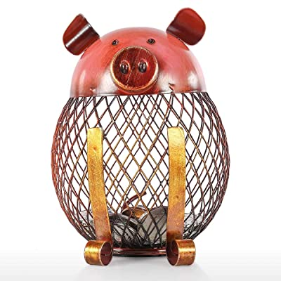 Cute Pig Piggy Bank, Iron Handmade Piggy Coin Bank Practical Craft Toy Bank Holder Coin Money Cash Saving Box Decorative Saving Bank Money Bank Adorable Pig Figurine for Boy Girl Baby Adult Pig Lover : Baby