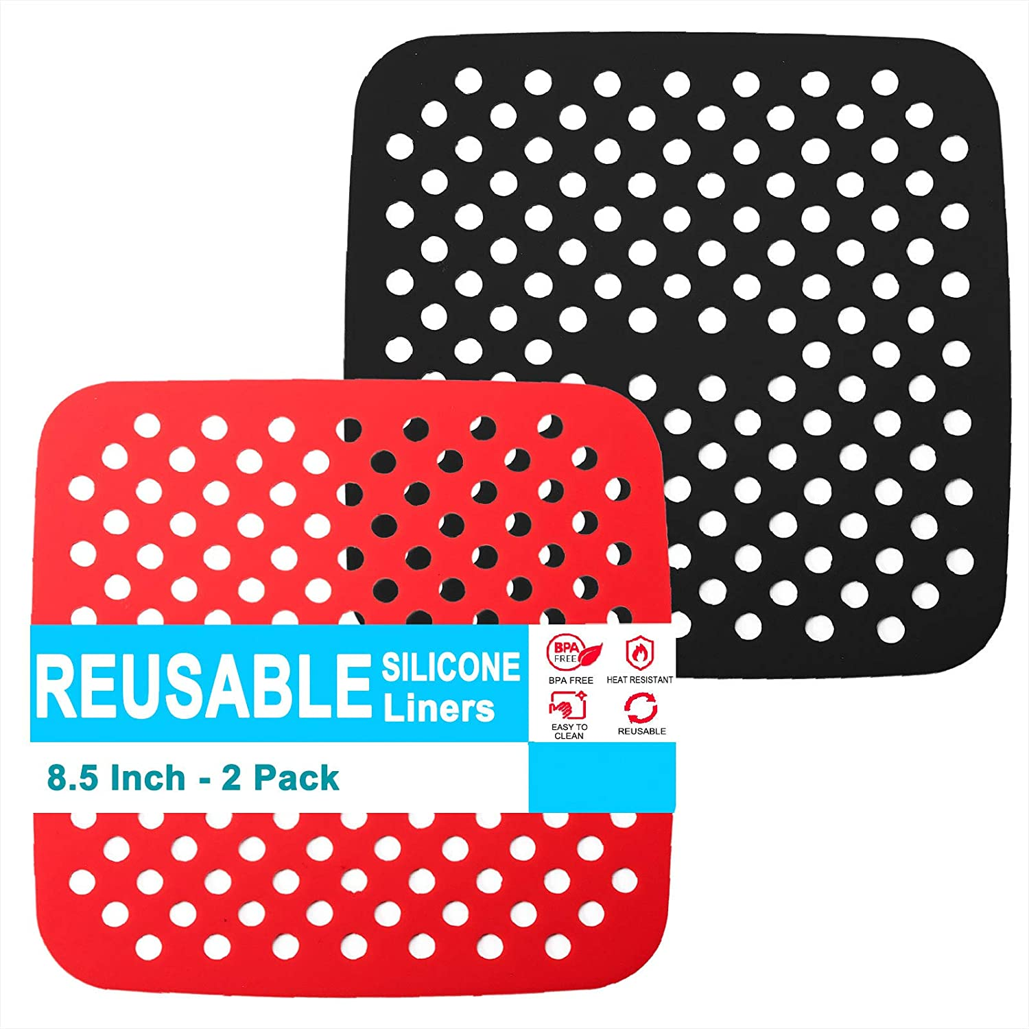 Air Fryer Liners Square, 8.5 Inch Reusable Silicone Non-Stick Airfryer Heat Resistant Mats, Air Fryer Accessories, Compatible with COSORI, Instant Pot, Chefman, GoWISE, NuWave and More, 2 PCS