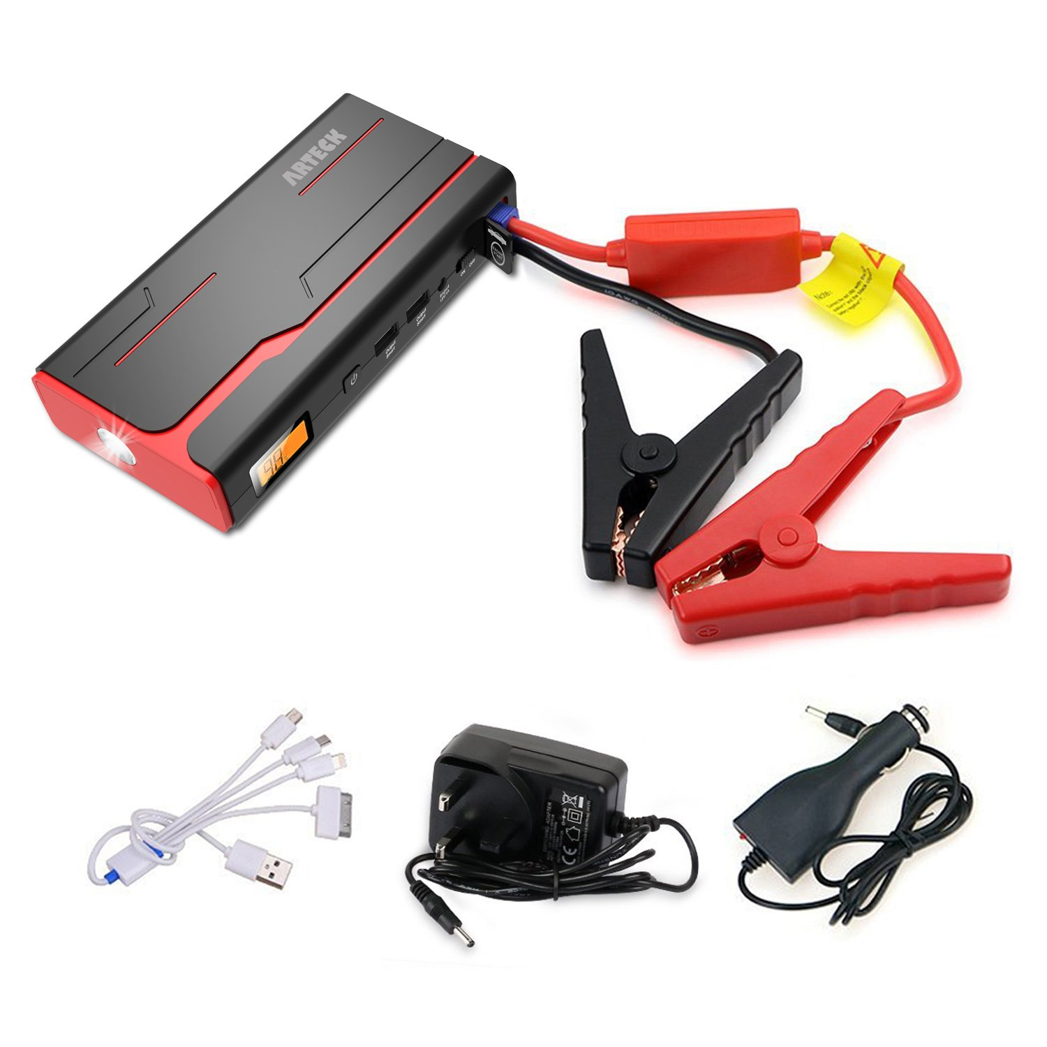 ARTECK 600A Peak Car Jump Starter (Up to 7.0L Gas or 6.5L Diesel) Auto Battery Charger and 18000mAh Portable External Battery Charger for Automotive, Boat, Phone with Adaptors, 12V Jump Leads, LED D-29