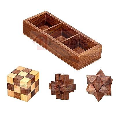 Wood Art Store Kids Wooden 3D Puzzles Game 3-In-1 Soma Cube/Interlock  Block/Snake Cube/Brain Teaser (Brown)