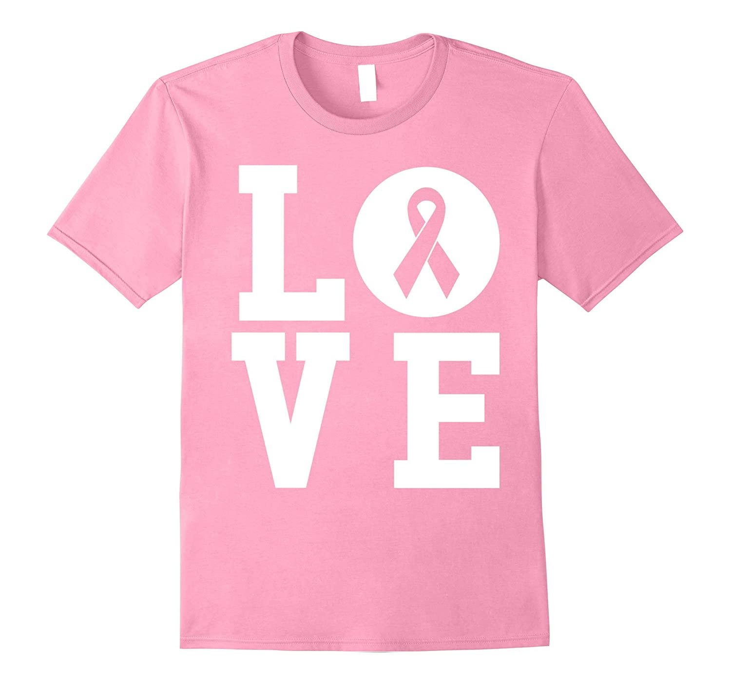 Breast Cancer Awareness - Love Pink Ribbon T-Shirt-FL