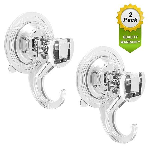 Quntis 2 Pack Saugnapf Haken Ohne Bohren extra stark, Saughaken Dusche Fenster Glas halten bis zu 5 kg Gewicht für Küche Bade