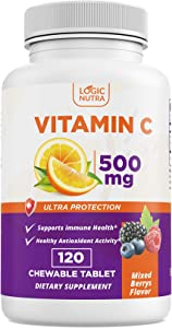 Logic Nutra Chewable Vitamin C Immune System Booster, Full of Antioxidants, High Absorption, Great Tasting Chewable Tablets 500mg in Each Tablet – 120 Tablets Mixed Berries Flavor Made in USA