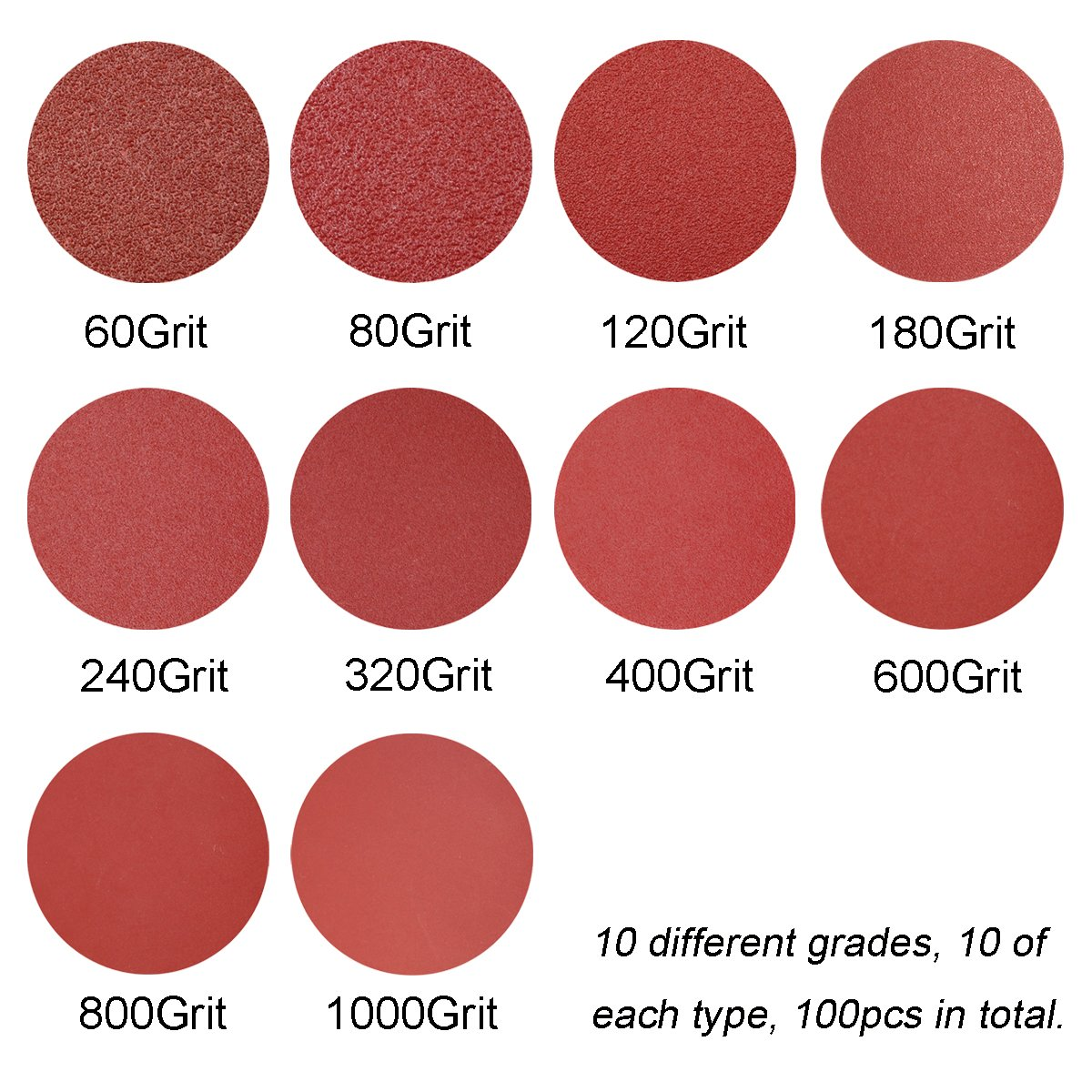 Self Adhsive Back 6-Inch PSA Sanding Discs Assorted Sandpaper 60-1000 Grits 100pcs by FRIMOONY