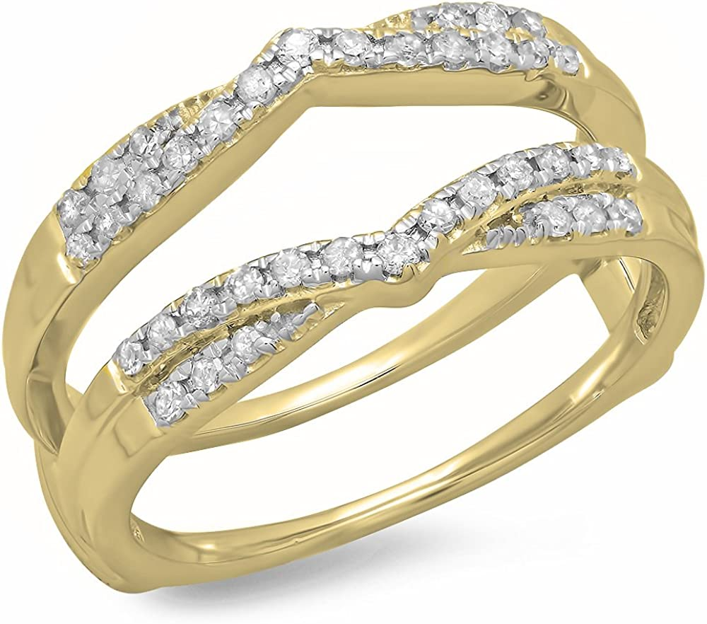 Ctw tusakha 0.50 Carat 14K White Gold Plated Round Diamond Ladies Anniversary Wedding Band Enhancer Guard Double Ring 1//2 CT