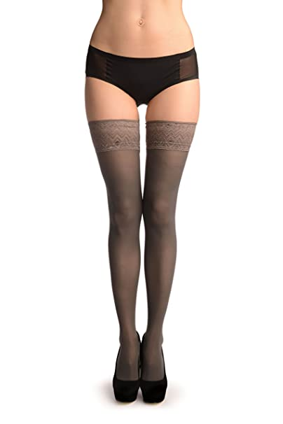4fa44c25117d8 Grey With Matching Silicon Garter - Stay - Up Thigh High (Stockings) at  Amazon Women's Clothing store: