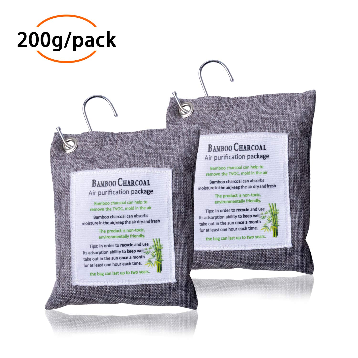 MIKKUPPA 2 Pack Air Purifier, Charcoal Air Freshener Bag Odor Eliminator for Cars, Closets, Bathrooms and Pet Areas, Include 2 Hooks 200g/Pack