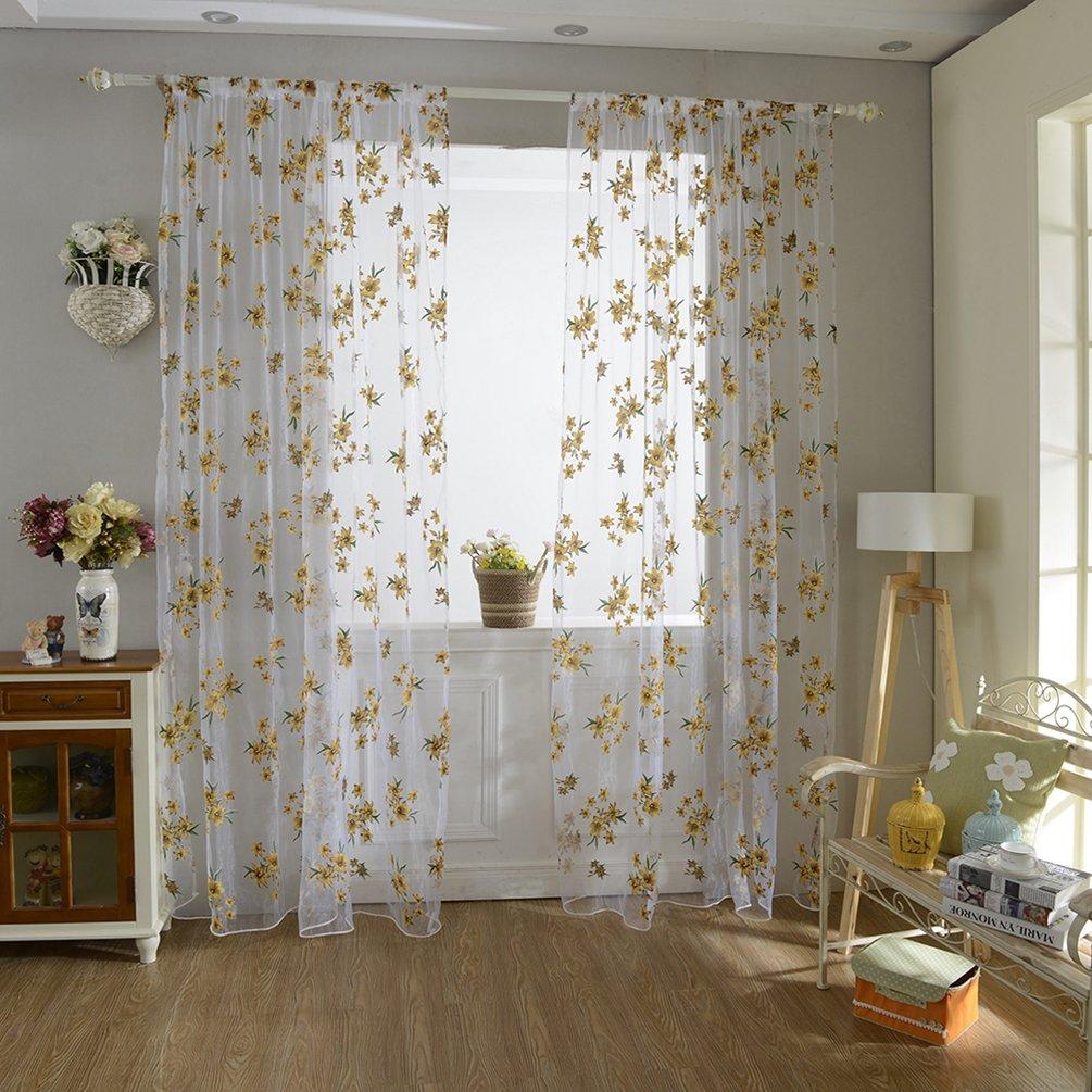display08romántico flores cortina de ventana de tul Sheer Drape separador Home Dormitorio Decoración, Gasa, Amarillo, 39.37 x 78.74 39.37 x 78.74