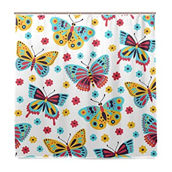 MALPLENA Shower Curtain Butterfly Patterns Bath Curtain with Hooks  Non-Toxic and Water-Repellent 010105eed