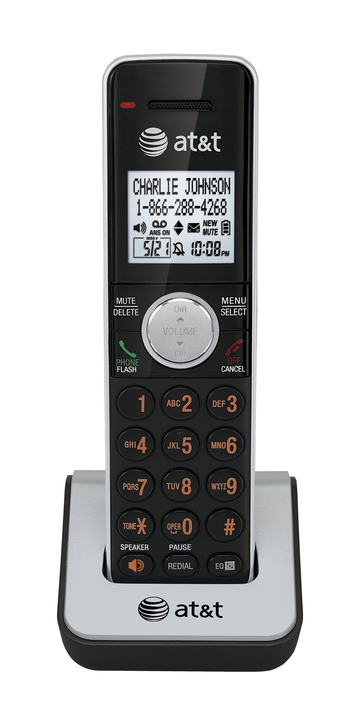 AT&T CL80111 DECT 6.0 Cordless Accessory Handset Phone, Black/Silver, 1  Accessory Handset OPEN BOX TESTED WORKS COMES ORIGINAL BOX AND MANUAL