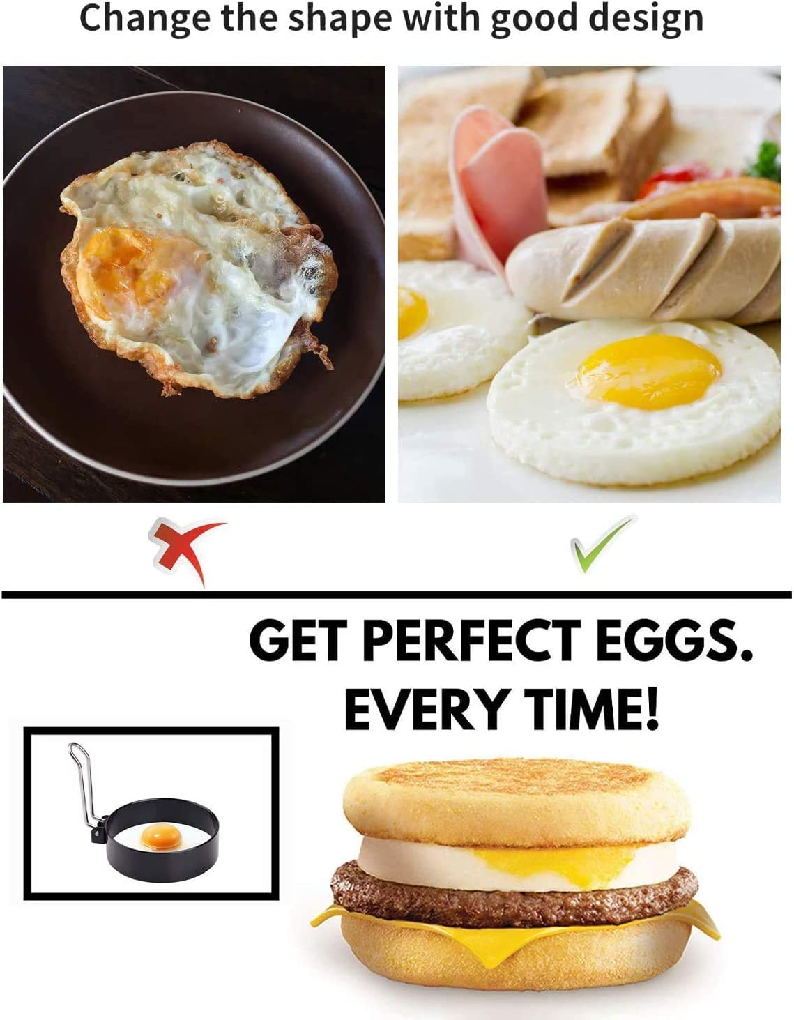 Egg Cooker Rings For Cooking FLAIGO Egg Rings for Egg Mcmuffins Pancake Mold Egg Mold Stainless Steel Non-Stick Fried Egg Ring Set For Shaping Eggs Kitchen Cooking Tool A