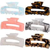 6 Pack Multi-Color Large Hair Claw Clips, Banana Tortoise Shell Barrettes Celluloid French Leopard Print Hair Jaw Clips for W
