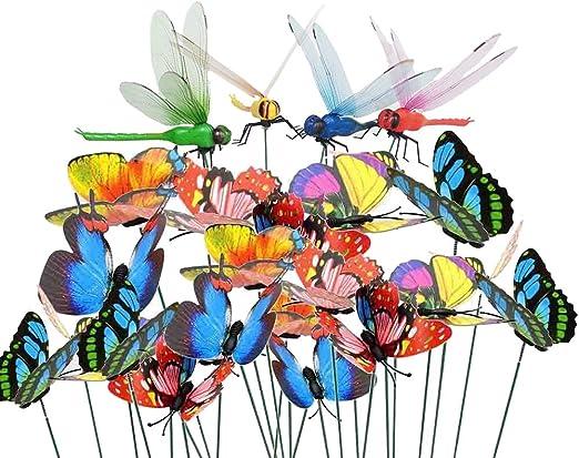 Antallcky - 60 piezas de mariposas de libélula para decoración de jardín, jardín, jardín, decoración de mariposas, decoración de Navidad, libélulas artificiales, mariposas en alambre de metal para plantas, tallos de estacas: