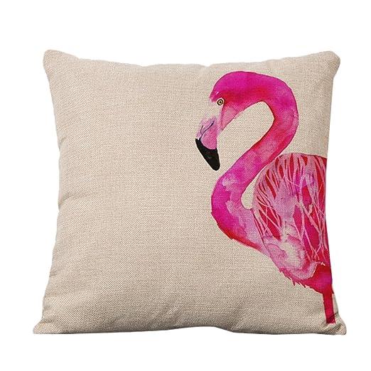 CAOLATOR Funda de Almohada Acuarela Flamingo de Lino Fundas ...