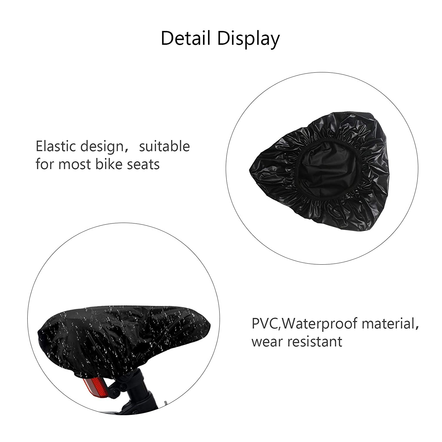 TAZEMAT 3 Packs Waterproof Bike Seat Cover Black Bicycle Saddle Cover Unisex Elastic Bike Saddle Rain Cover Universal Outdoor Portable Road Mountain Bicycle Dust Sun Resistant Seat Protector