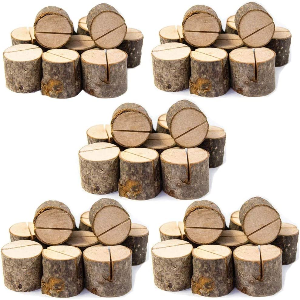 Senover Rustic Wood Table Numbers Holder Wood Place Card Holder Party Wedding Table Name Card Holder Memo Note Card (50pcs)