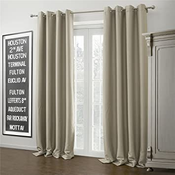 IYUEGOU Warm Ivory Solid Grommet Top Blackout Curtains Draperies With Multi Size Customs 84quot W