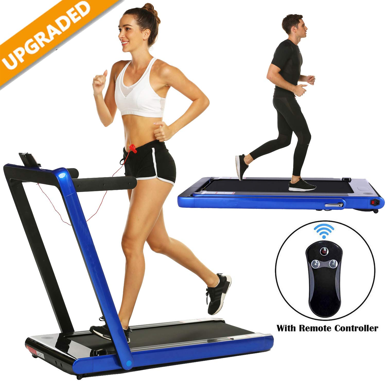 Smart Folding Treadmill,2 in 1 Electric Motorized Treadmills Portable Under Desk Treadmill Walking Jogging Running Exercise Fitness Machine with Remote Controller for Home Gym Office (2.25HP - Blue) by Miageek