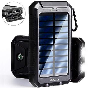 F.DORLA Cargador Solar 20000mAh Banco de Alimentación ...