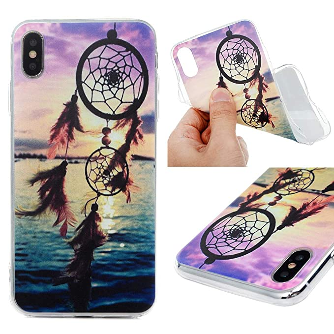 5ff3d8d54d9 Amazon.com  iPhone Xs Max 6.5 Case, MOTIKO Clear Transparent Wind Chimes  Painted Gel Silicone Shock Absorption Bumper Soft Flexible Rubber TPU  Anti-Scratch ...