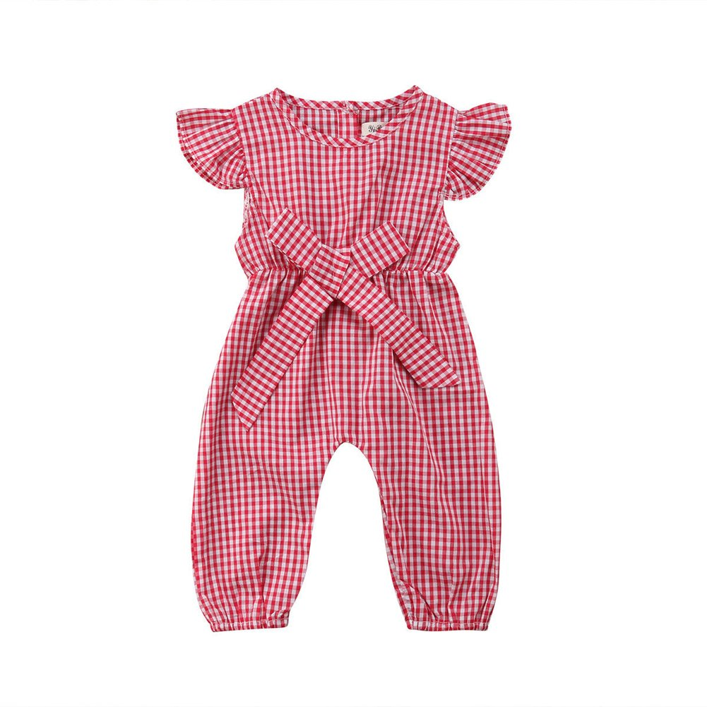 beBetterstore Toddler Baby Girl Plaid Jumpsuit Kids One Piece Ruffle Sleeve Bowkont Romper Outfit Clothes