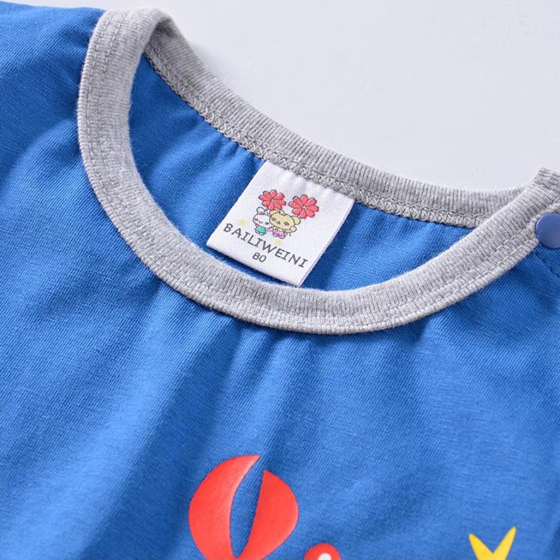 Prevently Kinder T-Shirt Kinder T-Shirt f/ür M/ädchen und Jungen Kinder Kurzarm Cartoon Krabbe Krokodil Hubschrauber Print T-Shirt ES Gibt Einen Knopf Am Hals