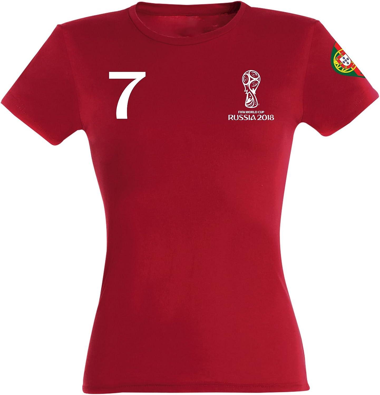Portugal T-shirt Femmes st-1 Rouge Maillot équipe de foot sport coupe du monde 2018