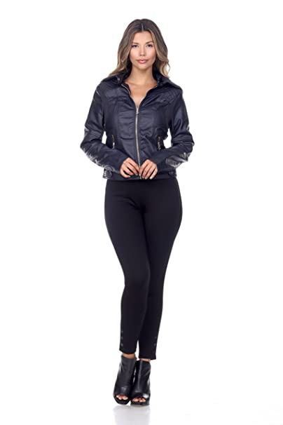 Amazon.com: CI Sono Mujer Piel Vegano con capucha de punto ...