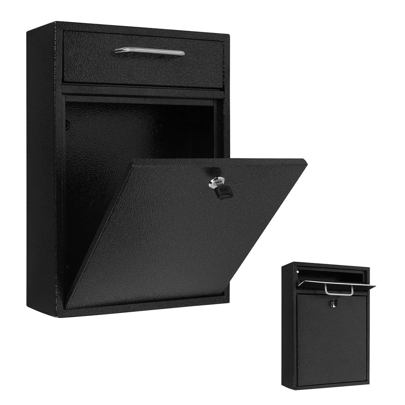 16.5'' x 11.5'' Wall Mounted Locking Drop Box Mailbox - Large Trademark Innovations (Black)