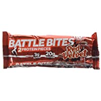 Battle Bites High Protein Bar, Low Carb and Low Sugar Protein Bars, Red Velvet, 12 x 62g Bars (2 x 31g Pieces per Bar) Baked by Battle Oats