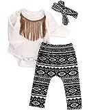 3pcs Newborn Infant Baby Girls Tassels Romper+Pants+Headband Legging Outfits Set